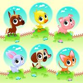 Cute farm animals. Vector cartoon illustration