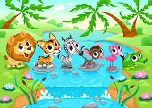 Funny animals in the jungle. Cartoon vector illustration.