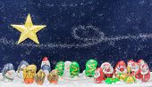 Cute Cartoon Santa Claus, Deer, Snow Man, Pengiuns And Tree