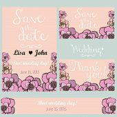 Pastel flowers wedding invitation. Thank you card. Save the date card. Wedding set. Hand drawn desig