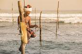Local Fishermen Are Fishing In Unique Style. Sri Lanka
