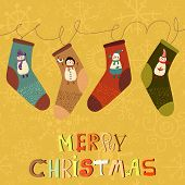 Merry Christmas Card In Vector  With Cute Socks And Cartoon Snowmans.stylish Holiday Background.vect