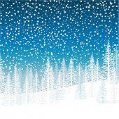 Winter snowfall over trees on a hillside