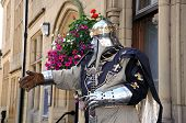 Knight living statue, Bakewell.