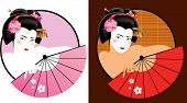picture of geisha  - Vector illustration of young geisha with fan - JPG