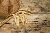 Bakery Background. Fresh Bread On Wooden Table