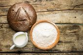 Bakery Ingredients With Loaf Of Bread