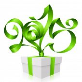 Vector green ribbon in the shape of 2015 and gift box. Symbol of New Year