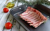 Raw lamb ribs to the Christmas and New Year's table