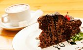 chocolate cake with cappuccino