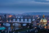 Bridges In Prague At Sunset