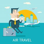 Happy Cartoon Businessman Character Travel Lifestyle Concept of Planning Vacation Tourism and Journe