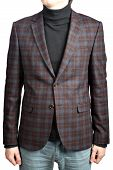 Mens Woolen Blazer Suit  Checkered, Isolated Image On White Background.