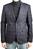 Mens Woolen Suit Jacket Checkered, Isolated Image On White