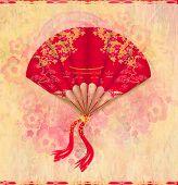 Decorative Chinese Landscape On A Beautiful Fan