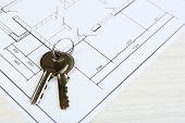 Key on house plan close-up