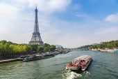 Seine In Paris And Eiffel Tower