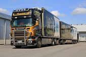 Accessorized Scania V8 Trailer Truck Transports Frozen Food