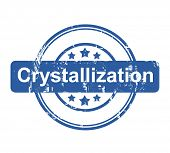 Crystallization business concept stamp with stars isolated on a white background.
