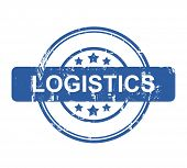 Logistics business concept stamp with stars isolated on a white background.