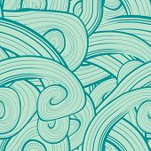 Seamless abstract hand-drawn pattern, waves background. Wavy bac