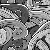 Abstract vector seamless black and white pattern with waves, urb