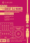 minimal design night party flyer template with sound mixer