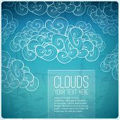 Abstract vector vintage banner. Blue sky background with label.