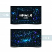 Business card front and back with abstract cosmic background