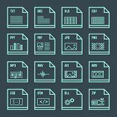 file formats minimal outline design icons set