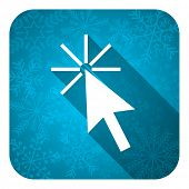 click here flat icon, christmas button