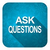 ask questions flat icon, christmas button