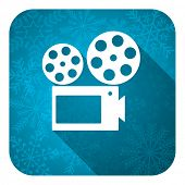 movie flat icon, christmas button, cinema sign