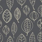 Vector abstract seamless background with leaf in beige and gray.