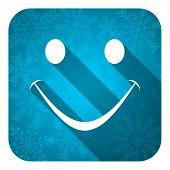 smile flat icon, christmas button