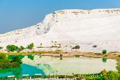 Beautiful View Of The Mountains And Lake In Pamukkale