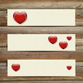 Vector Banners. Set of Three. Abstract Background With Hearts.