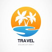 foto of sunny beach  - Vector logo design template - JPG