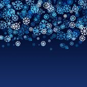 Abstract Blurred Lights And Snowflakes Background With Space For Text. Vector Illustration. Christma