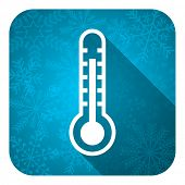 thermometer flat icon, christmas button, temperature sign
