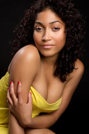 picture of african american woman  - Pretty sexy black woman in yellow dress - JPG