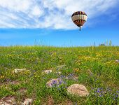 picture of golan-heights  - In a clear sky flying big colorful balloon - JPG