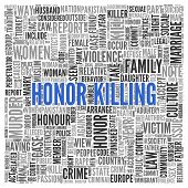 stock photo of kill  - Close up HONOR KILLING Text at the Center of Word Tag Cloud on White Background - JPG