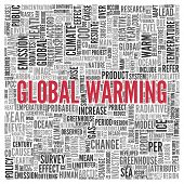 foto of global-warming  - Close up GLOBAL WARMING Text at the Center of Word Tag Cloud on White Background - JPG