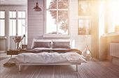 foto of sun flare  - Luxury spacious airy bedroom lit by warm glowing sun flare streaming in through one of the multiple windows with modern grey and white decor and a double divan bed - JPG