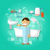 pic of personal hygiene  - Personal hygiene concept with person brushing teeth vector illustration - JPG