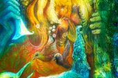 pic of fairies  - Golden sun god blue water goddess fairy child and a phoenix bird fantasy imagination detailed colorful painting - JPG
