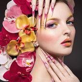 image of long nails  - Beautiful woman with long nails - JPG