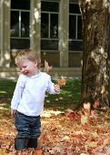 Boy In Fall Leaves