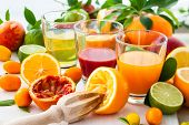 stock photo of juices  - Different fresh citrus juices - JPG
